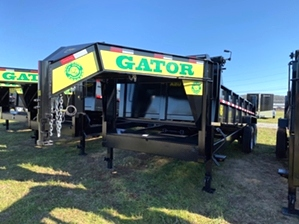 Dump Trailers Gooseneck 16000 GVWR By Gator  Dump Trailers Gooseneck 16000 GVWR By Gator. 12in I-Beam neck, dexter axles, and LED lights.